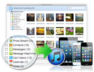 Screenshot of Dr. Fone for Mac data recovery software